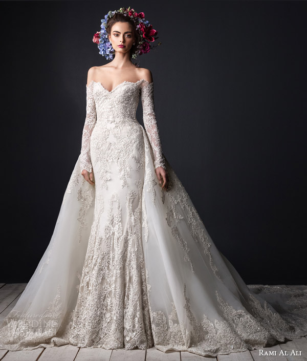 rami al ali bridal 2015 off shoulder lace wedding dress long sleeves ball gown overskirt train