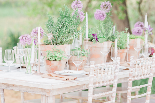 Lilac and herb tablescape | Chris Loring Photography | see more on: http://burnettsboards.com/2015/12/roots-shoot-an-elegant-organic-farm-wedding/