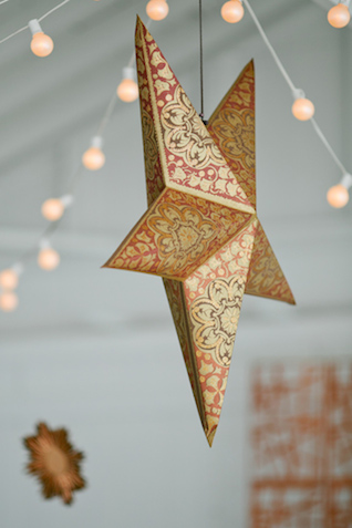 Hanging star decor | Kristyn Hogan and Cedarwood Weddings | see more on: http://burnettsboards.com/2015/12/yellow-metallic-mod-wedding/