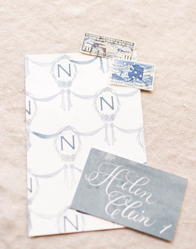 Nautical wedding invitations in blue gray | V.A. Photography | see more on: http://burnettsboards.com/2015/12/eastern-shore-wedding/
