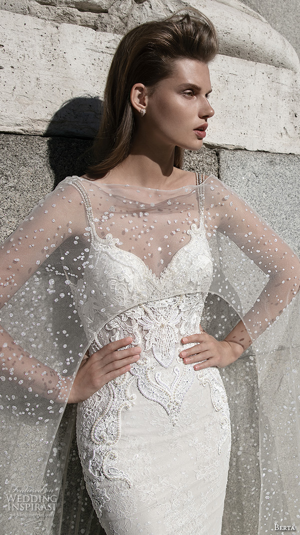 berta fall 2016 bridal beautiful spagetti strap sheath wedding dress sweetheart neckline with lace see through cape