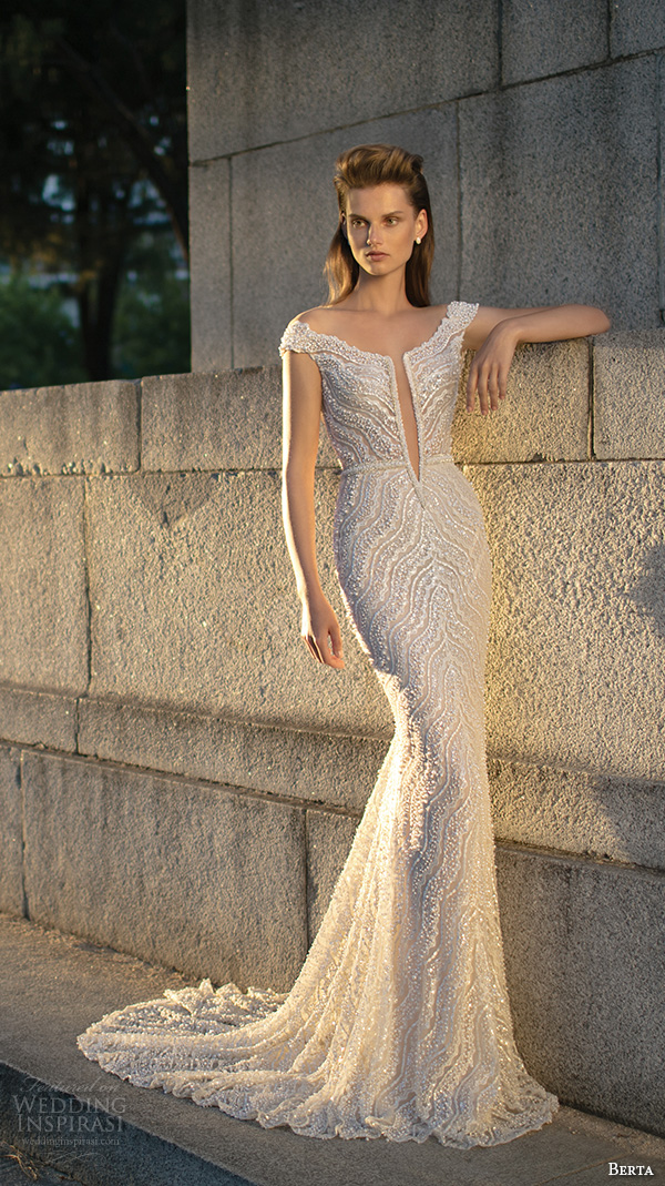 berta fall 2016 bridal off the shoulder elegant sheath wedding dress beaded lace embroidery with court train