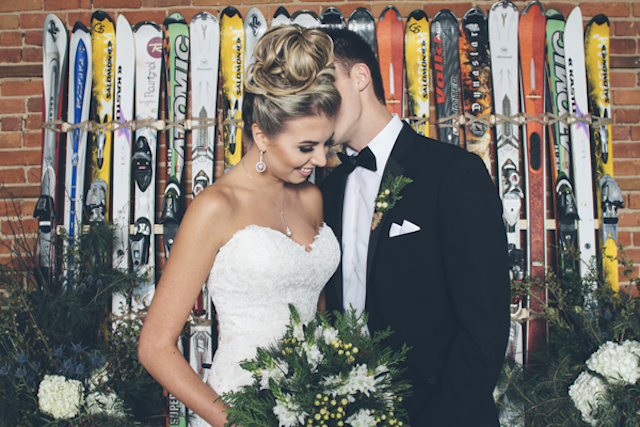 Ski backdrop | Lauryn Ann Photography | see more on: http://burnettsboards.com/2015/12/ski-themed-winter-wedding/