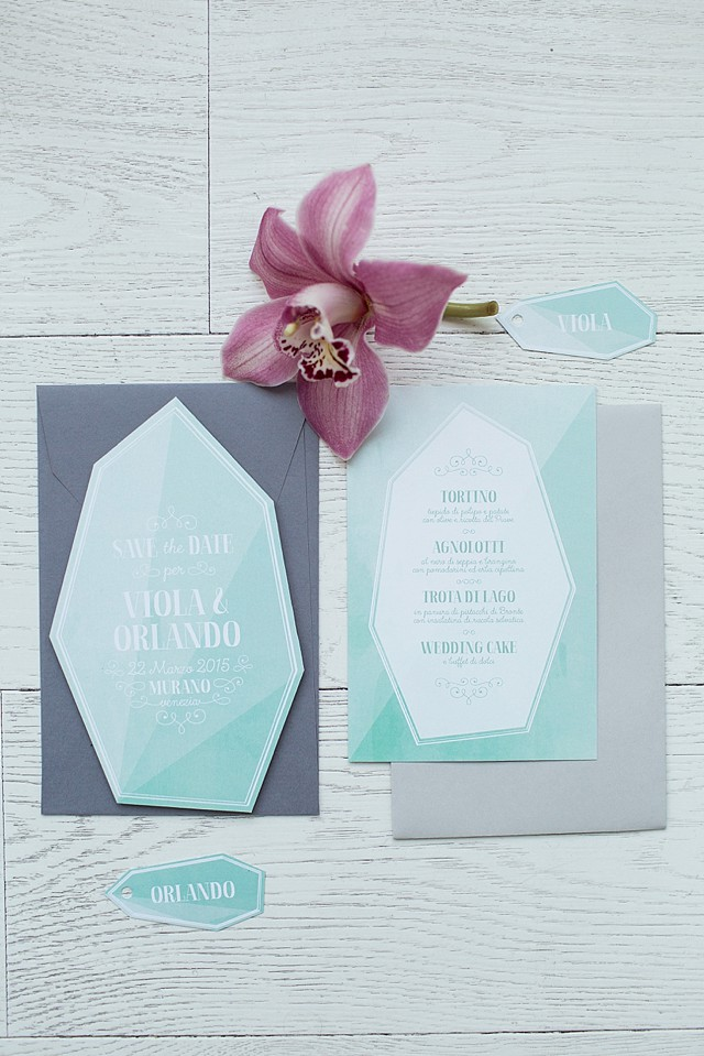 Mint geometric wedding invitations | Tyler Rye and My Italian Wedding Planner | see more on: http://burnettsboards.com/2015/11/mint-pink-styled-shoot-venice/