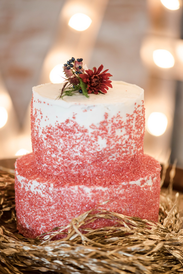 Red Christmas wedding cake | Stephanie Ramsey and Melissa Malouf | see more on: http://burnettsboards.com/2015/12/christmas-wedding-ideas/