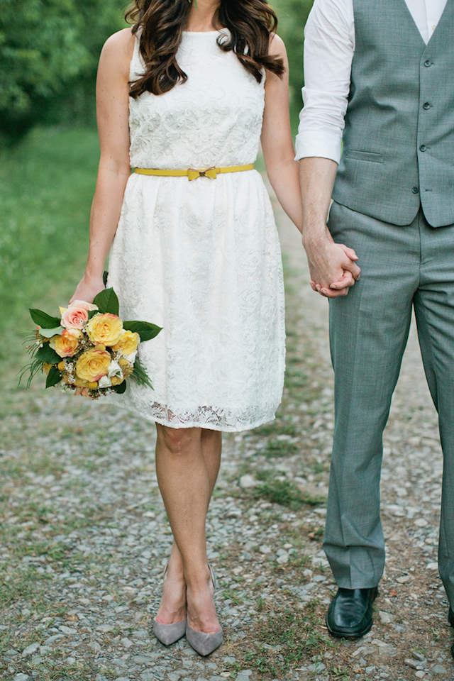 Retro bride in a short wedding dress | Kristyn Hogan and Cedarwood Weddings | see more on: http://burnettsboards.com/2015/12/yellow-metallic-mod-wedding/