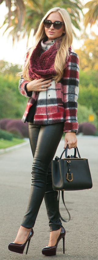 cute outfits with plaid coats 2