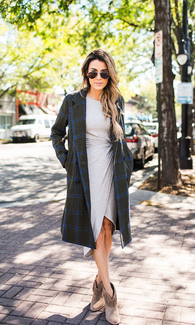 cute outfits with plaid coats 3