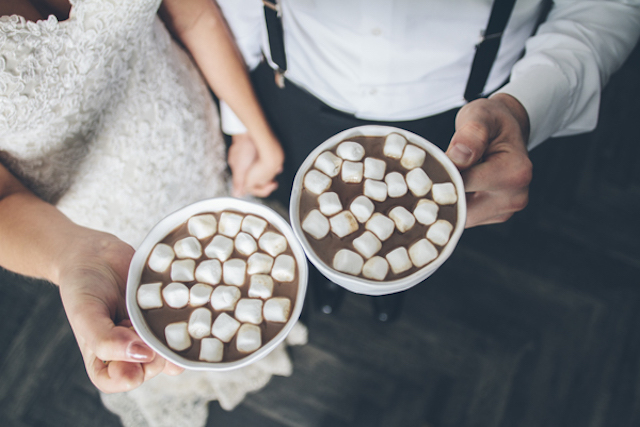 Hot chocolate with marshmallows | Lauryn Ann Photography | see more on: http://burnettsboards.com/2015/12/ski-themed-winter-wedding/