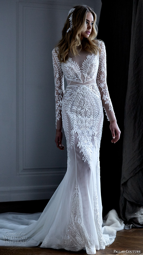 pallas couture 2016 wedding dresses lace long sleeves filigree embroidered lace illusion v neck gorgeous beautiful sheath gown with train acrene