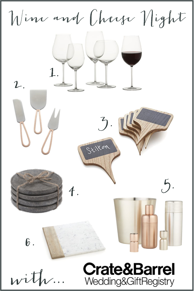 Wine and cheese night essentials from Crate and Barrel for your Wedding Registry