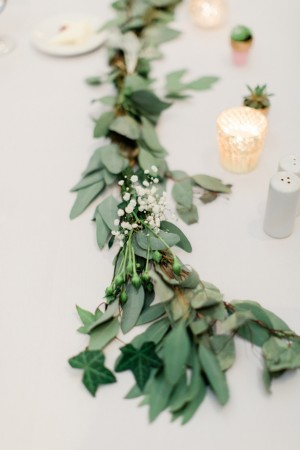 Wedding Table Garland -White Bridesmaid dresses - Dan and Melissa Photography