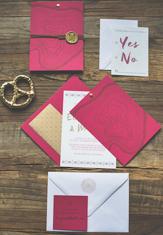 Red and gold holiday wedding invitations | Stephanie Ramsey and Melissa Malouf | see more on: http://burnettsboards.com/2015/12/christmas-wedding-ideas/