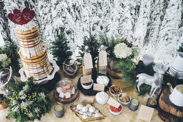 Winter dessert table and hot chocolate station | Lauryn Ann Photography | see more on: http://burnettsboards.com/2015/12/ski-themed-winter-wedding/