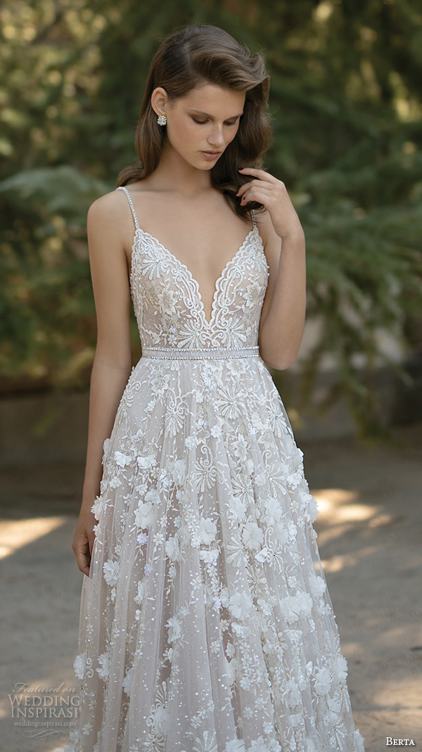 berta fall 2016 bridal romantic pretty a line ball gown wedding dress spagetti strap sweetheart neckline floral appliques