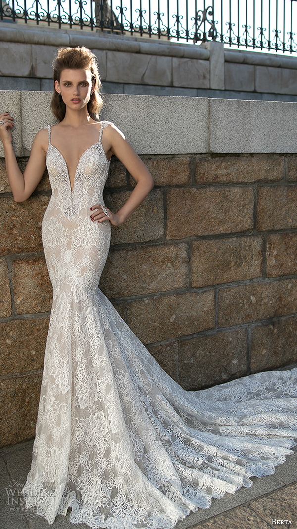 berta fall 2016 bridal spagetti strap deep plunging v neckline lace embroidered mermaid wedding dress