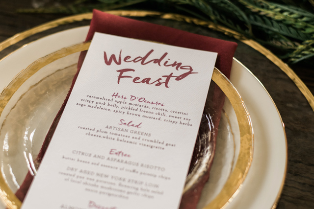 Wedding menu for the holidays | Stephanie Ramsey and Melissa Malouf | see more on: http://burnettsboards.com/2015/12/christmas-wedding-ideas/