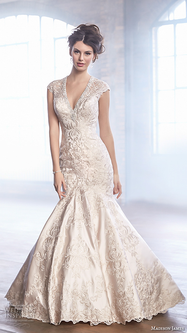 madison james fall 2015 bridal cap sleeve v neckline metallic lace embroidery beautiful trumpet mermaid wedding dress style mj150
