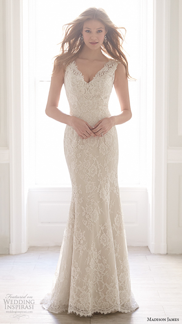 madison james fall 2015 bridal sleeveless lace strap v neckline lace embroidery beautiful fit to flare sheath wedding dress style mj152