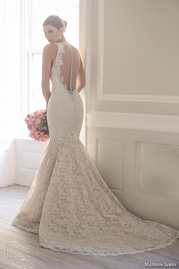 madison james fall 2015 bridal sleeveless lace strap v neckline lace embroidery trumpet mermaid wedding dress style mj156