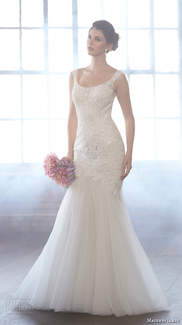madison james fall 2015 bridal sleeveless scoop neckline lace embroidery bodice tulle skirt beautiful mermaid wedding dress style mj151
