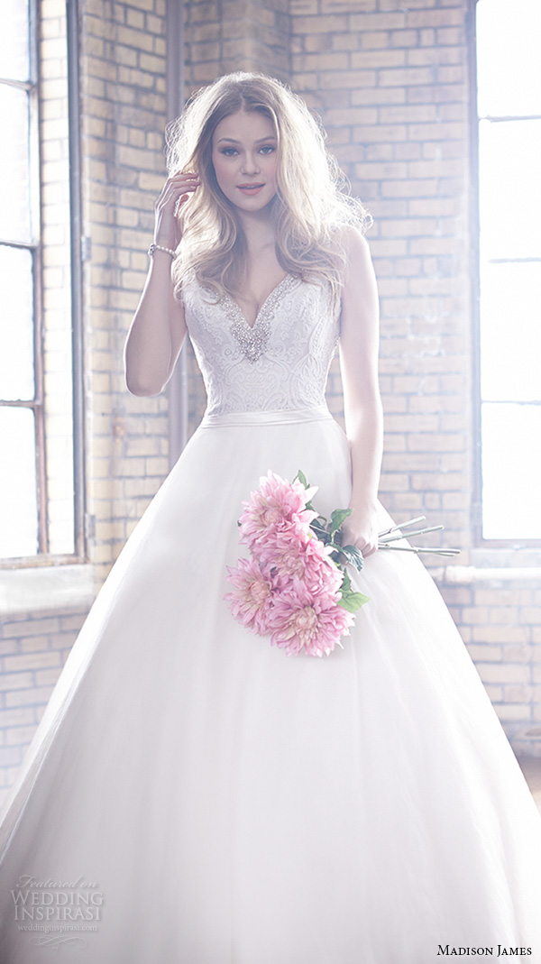 madison james fall 2015 bridal sleeveless v neckline lace embroidery gorgeous ball gown wedding dress style mj159