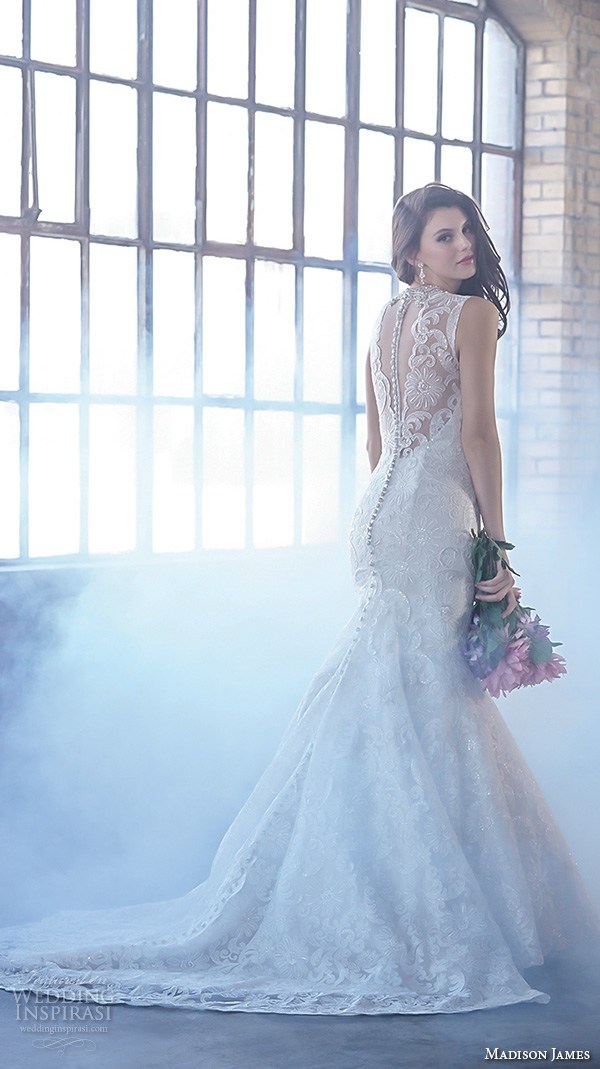 madison james fall 2015 bridal sleeveless v neckline lace embroidery trumpet beautiful mermaid wedding dress style mj160
