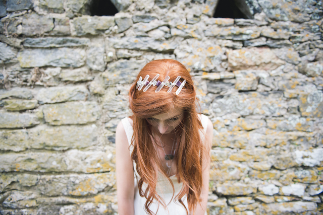 Crystal headpiece | Laura Power Photography and @thewedbazaar | see more on: http://burnettsboards.com/2015/12/gem-themed-wedding-castle/