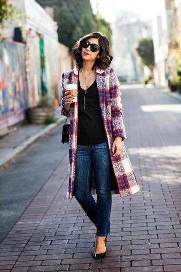 cute outfits with plaid coats 13
