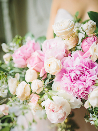 Pink peony and garden rose floral centerpiece | Rodion Shapor Photography | see more on: http://burnettsboards.com/2015/12/fairytale-rose-quartz-wedding-inspiration/
