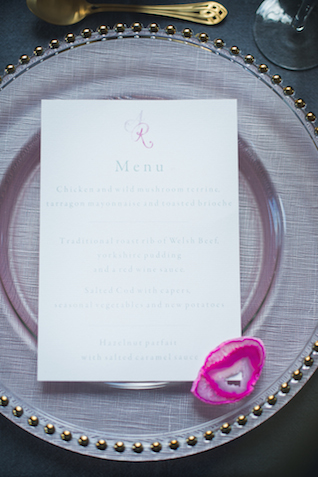Watercolor wedding menu | Laura Power Photography and @thewedbazaar | see more on: http://burnettsboards.com/2015/12/gem-themed-wedding-castle/