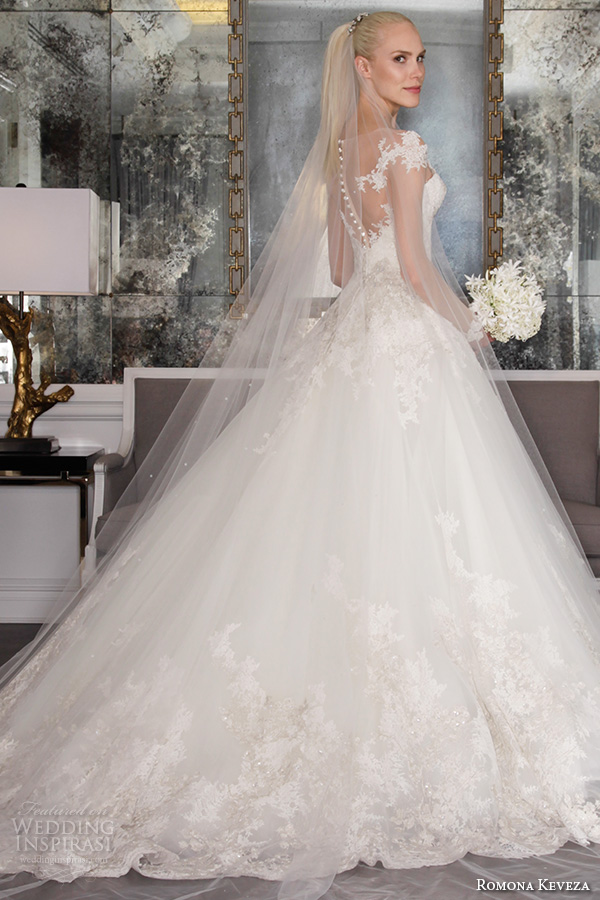 romona keveza fall 2016 luxe bridal lace pattern off the shoulder sleeves middle slit sweetheart neckline gorgeous a line wedding ball gown dress rk6468