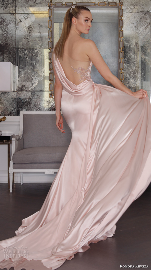 romona keveza fall 2016 luxe bridal one shoulder beautiful pink blush color satin wedding dress gown with train rk6454 back view
