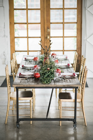 Christmas wedding reception | Stephanie Ramsey and Melissa Malouf | see more on: http://burnettsboards.com/2015/12/christmas-wedding-ideas/