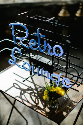 Retro neon sign | Kristyn Hogan and Cedarwood Weddings | see more on: http://burnettsboards.com/2015/12/yellow-metallic-mod-wedding/