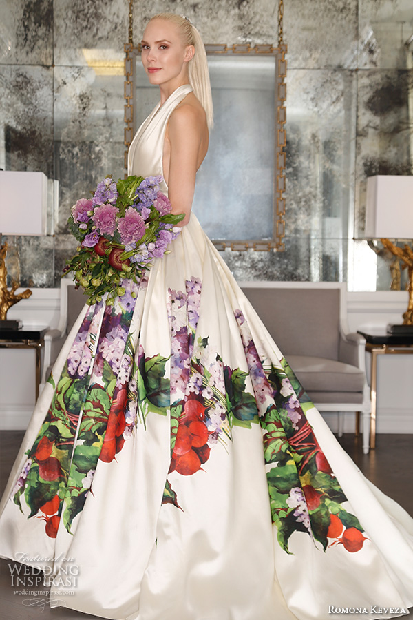 romona keveza fall 2016 luxe bridal halter neck gorgeous colored a line wedding ball gown dress with red and purple flower bouquet prints rk6452
