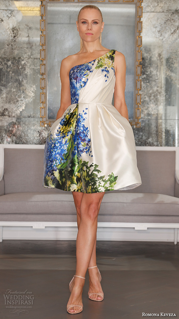 romona keveza fall 2016 luxe bridal one shoulder pleated bodice short skirt with blue floral prints rk6451