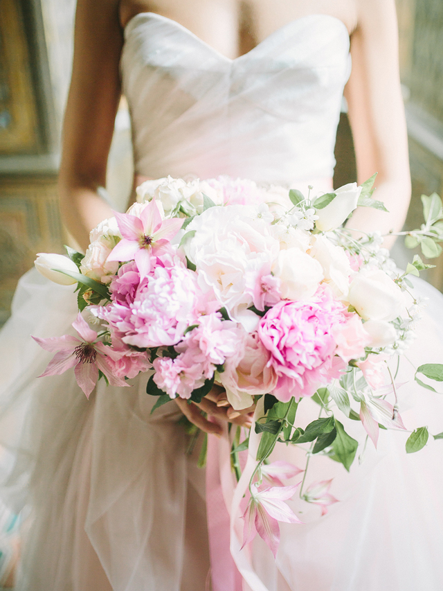 Pink peony bridal bouquet | Rodion Shapor Photography | see more on: http://burnettsboards.com/2015/12/fairytale-rose-quartz-wedding-inspiration/