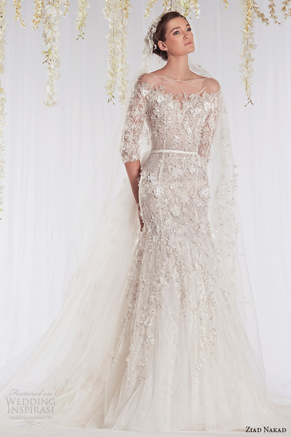 ziad nakad 2015 haute couture bridal wedding dress half sleeves off the shoulder flora leaf applique mermaid gown