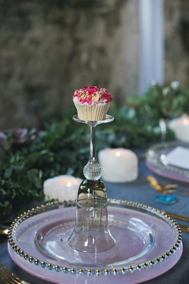 Cupcake with rock candy | Laura Power Photography and @thewedbazaar | see more on: http://burnettsboards.com/2015/12/gem-themed-wedding-castle/
