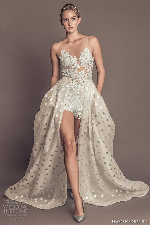 francesca miranda fall 2016 bridal gorgeous sleeveless jeweled sheer neckline lace embroidered bodice lace romper with a line polka dots overskirt style penelope