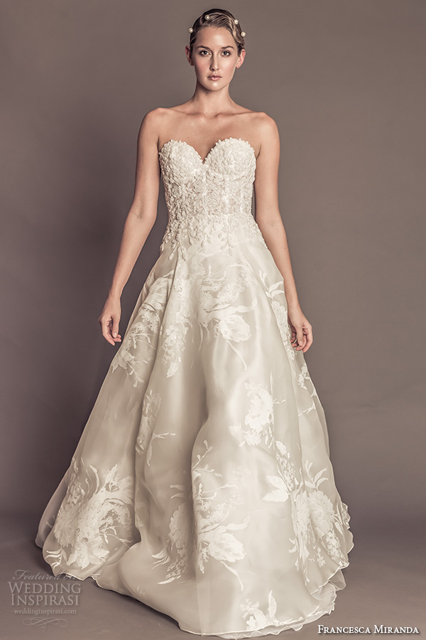 francesca miranda fall 2016 bridal strapless sweetheart neckline floral embroidered bustier bodice floral print beautiful a line wedding dress with pockets style martina