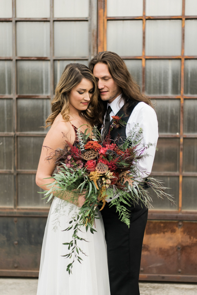Textural red and green bouquet | Stephanie Ramsey and Melissa Malouf | see more on: http://burnettsboards.com/2015/12/christmas-wedding-ideas/