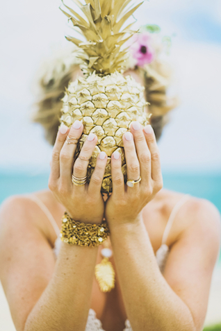 DIY gold spray painted pineapple | Angie Diaz Photography | see more on: http://burnettsboards.com/2015/12/boho-glam-beach-anniversary-shoot-maui/