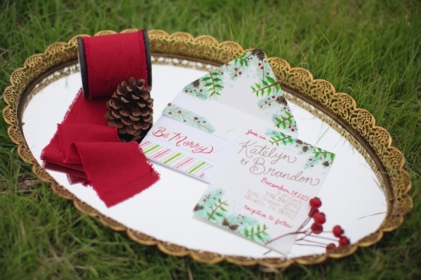 Christmas wedding invitations - photo by Janeane Marie Photography http://ruffledblog.com/christmas-tree-farm-inspiration-shoot