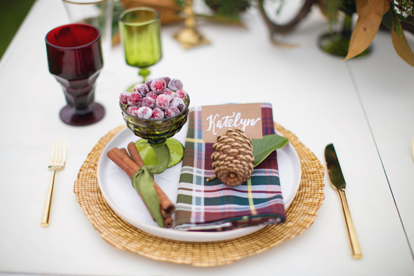 place setting - photo by Janeane Marie Photography http://ruffledblog.com/christmas-tree-farm-inspiration-shoot