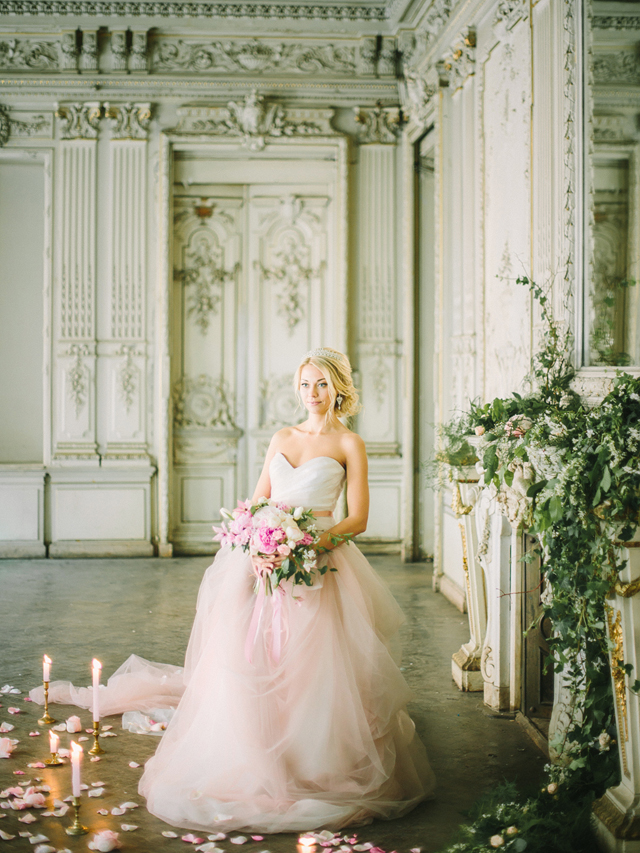 Pink princess wedding dress | Rodion Shapor Photography | see more on: http://burnettsboards.com/2015/12/fairytale-rose-quartz-wedding-inspiration/