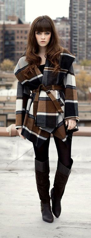 cute outfits with plaid coats 19