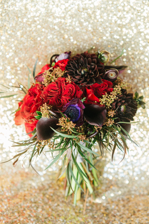 glam holiday bouquet - photo by Emily Sacco http://ruffledblog.com/glam-holiday-wedding-inspiration