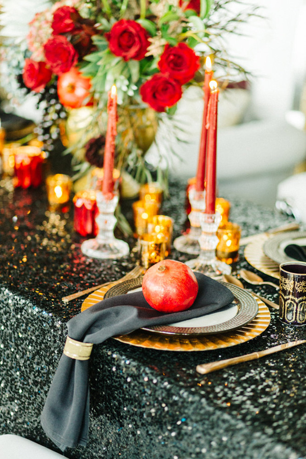 Ruffled - photo by Emily Sacco http://ruffledblog.com/glam-holiday-wedding-inspiration